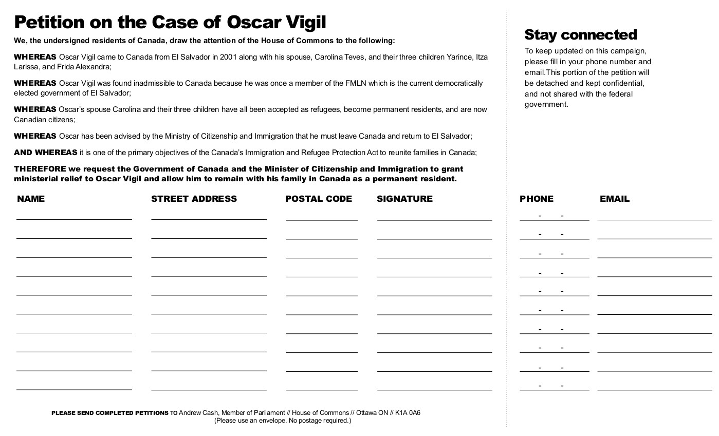 Vigil Campaign Petition - The Case of Oscar Vigil